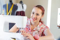 Seamstress at work Stock Photography