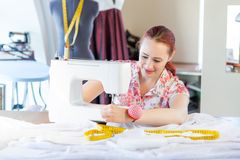 Seamstress at work Royalty Free Stock Image