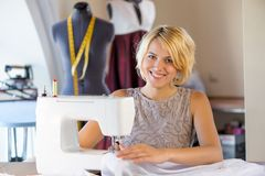 Seamstress at work Stock Photo