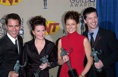 Sean Hayes,Debra Messing,Megan Mullally. Will & Grace stars ERIC McCORMACK, MEGAN MULLALLY, DEBRA MESSING & SEAN HAYES at the 7th Annual Screen Actors Guild Royalty Free Stock Photos