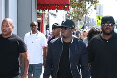 Sean P Diddy Combs and his entourage. Arrive at the Sean John pop-up store on Sunset Blvd. in Los Angeles, California Royalty Free Stock Image