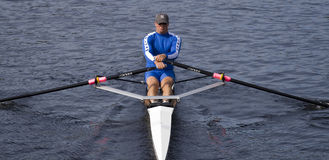 Sean Schulich of the Pelham Community Rowing Assoc. BOSTON - OCTOBER 19: In the Head of Charles Regatta, Sean Schulich of the Pelham Community Rowing Association Stock Image