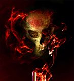 Seance. Eerie skull in smoky flames Royalty Free Stock Photo