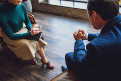 Seance of psychology helps businessman Royalty Free Stock Photos