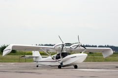 Seaplane. The easy hydroplane costs on an airfield Stock Images
