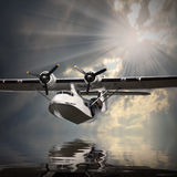 The seaplane. Old rescue seaplane over a sea level Royalty Free Stock Photography
