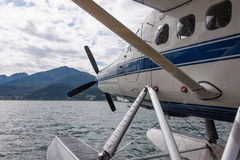 Seaplane in Alaska. Seaplane in the ocean off the coast of Skagway, Alaska, USA stock images