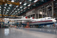 Seaplane Be-200ChC, construction. The aircraft in the process of construction,Seaplane Be-200ChC, construction, Taganrog, Russia, May 18, 2013. Aviation plant Royalty Free Stock Photography