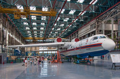 Seaplane Be-200ChC, construction, Taganrog, Russia, May 18, 2013. The aircraft in the process of construction,Seaplane Be-200ChC, construction, Taganrog, Russia Royalty Free Stock Photo