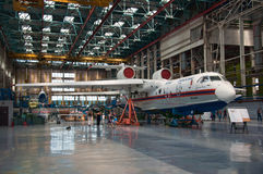 Seaplane Be-200ChC, construction, Taganrog, Russia, May 18, 2013. The aircraft in the process of construction,Seaplane Be-200ChC, construction, Taganrog, Russia royalty free stock images