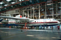 Seaplane Be-200, construction, Taganrog, Russia, May 18, 2013. The aircraft in the process of construction,Be-200, construction, Taganrog, Russia, May 18, 2013 stock photography