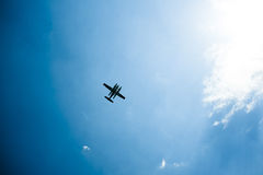 Seaplane from below. Sky view of a seaplane from below Stock Photos