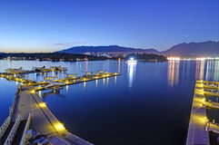 Seaplane berth at blue hour, Vancouver Royalty Free Stock Photography