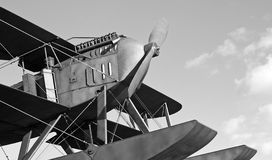 Seaplane Black and White. Replica of the seaplane that made the first crossing of the atlantic ocean south Stock Photo