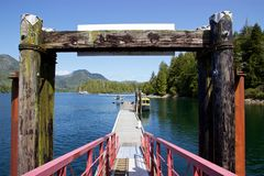 Seaplane and boat docked at Hot Springs Cove, Tofino, Canada Stock Photo