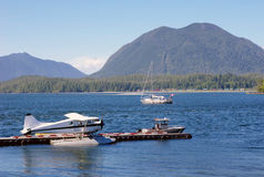 Seaplane, boats in Tofino port  Vancouver Island,  Stock Images