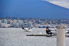 Seaplane in Coal Harbour, Downtown Vancouver, British Columbia, Canada Stock Photo