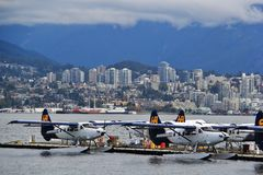 Seaplane in Coal Harbour, Downtown Vancouver, British Columbia, Canada Royalty Free Stock Photos