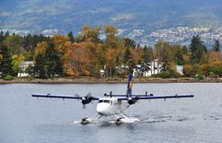 Seaplane in Coal Harbour, Downtown Vancouver, British Columbia, Canada Stock Images
