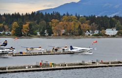 Seaplane in Coal Harbour, Downtown Vancouver, British Columbia, Canada Stock Photos