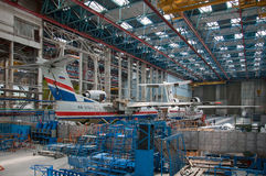 Seaplane construction. The aircraft in the process of construction,Seaplane Be-200ChC, construction, Taganrog, Russia, May 18, 2013. Aviation plant, These royalty free stock photography
