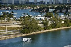 Seaplane departing from Miami royalty free stock images
