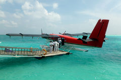 Seaplane. At the dock of an exotic Maldives resort Stock Photography