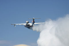 Seaplane firefighter dropping water Stock Photo