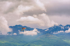 Seaplane flies over the Chugach Mountains Royalty Free Stock Photography
