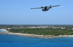 Seaplane in flight Stock Images