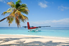 Seaplane going to take off. From the tropical island, Maldives Stock Photography