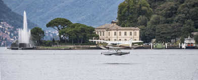 Seaplane in Lake como Stock Photography