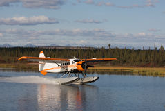 Seaplane Landing on an Alaskan Lake Stock Image