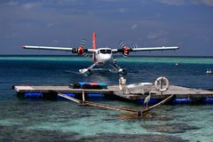Seaplane after landing - Ari Atoll, Maldives stock photography