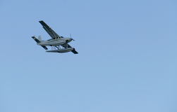 Seaplane landing on East River in New York Royalty Free Stock Photo