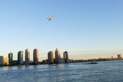 Seaplane landing on East River in New York Royalty Free Stock Photos