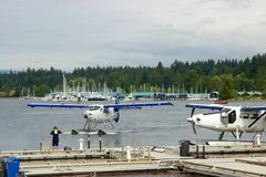 Seaplane landing in Vancouver, British Columbia, Canada Stock Images