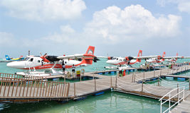 Seaplane, Male, Maldives. Male, Maldives - February 1, 2016: Trans Maldivian Airways seaplanes are waiting for passengers to board at Male, Maldives Stock Photo