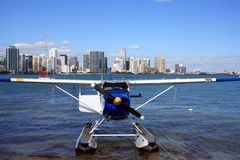 Seaplane and Miami Skyline Stock Photo