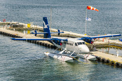 Seaplane Moored to Pier Royalty Free Stock Photo
