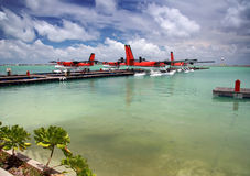 Seaplane at a mooring at ocean. Stock Photo