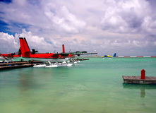 Seaplane at a mooring at ocean Stock Photography