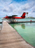 A seaplane at a mooring at ocean Royalty Free Stock Photography