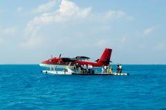 Seaplane nei Maldives Fotografie Stock