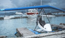Seaplane parked near pier Stock Photo
