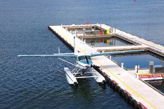 Seaplane parked in Vancouver BC, Canada. Stock Photos