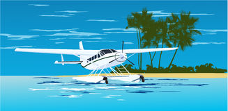 Seaplane on the sea Royalty Free Stock Photo