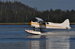 Seaplane taking off. Floatplane taking off on a calm day Stock Images