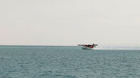 Seaplane taking off in Maldives stock footage
