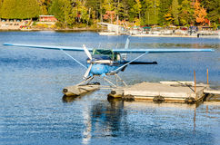 Seaplane Tied Up to a Jetty Stock Photography